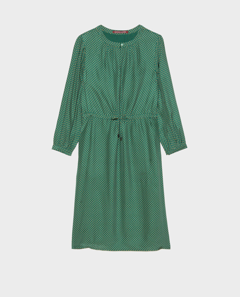 Loose silk dress Little pois dark green Megrisa