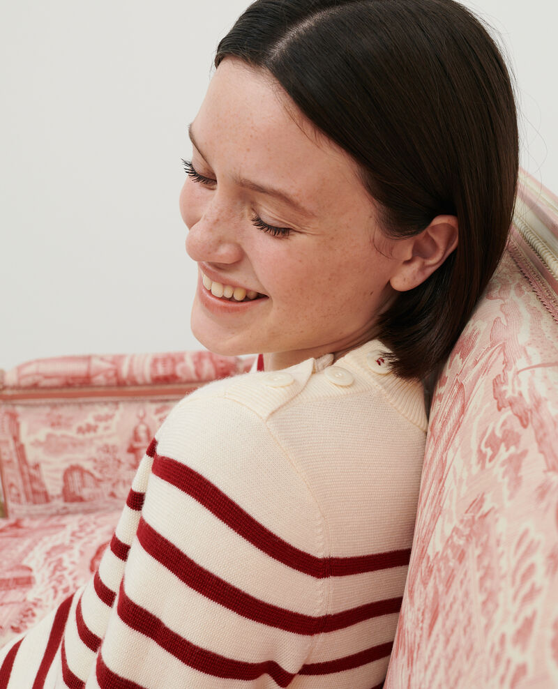 MADDY - Striped wool jumper Str jetstream ry red Liselle