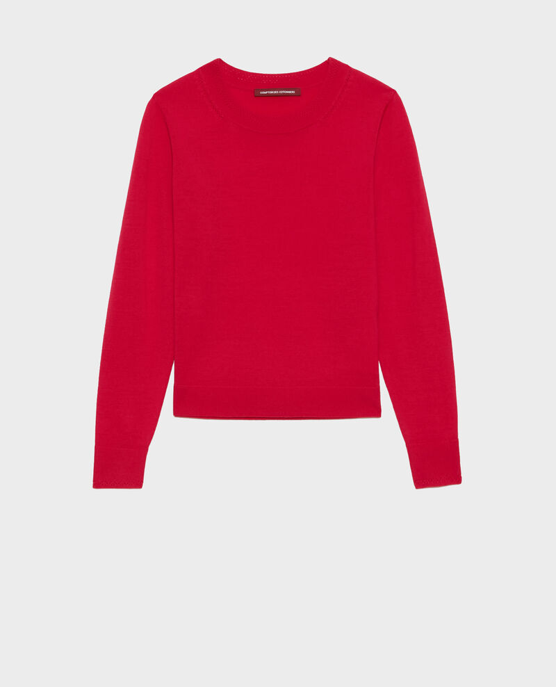 Round neck wool jumper Persian red Passy