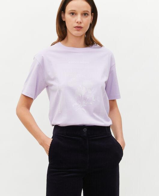 Wide cotton t-shirt PASTEL LILAC