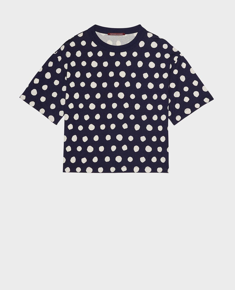Boxy cotton t-shirt Dots maritime blue Lenoyer