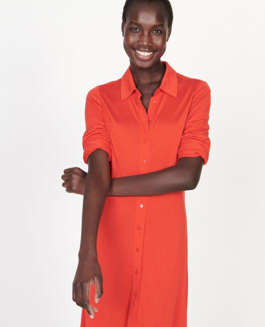 Silk jersey shirt dress FIERY RED