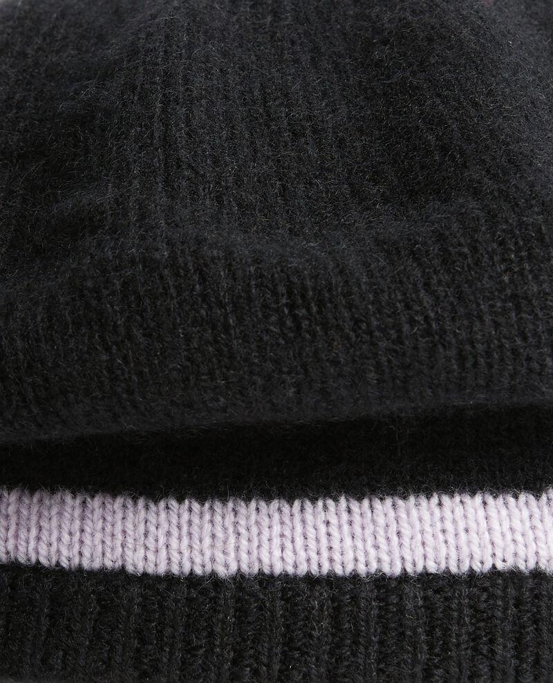 Cashmere beret Stripe black lilac Mions