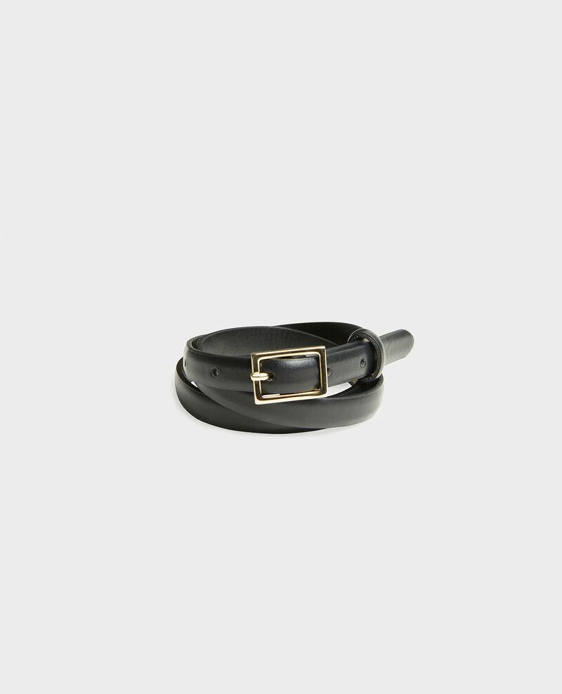 Skinny leather belt with rectangular buckle Black beauty Meillard