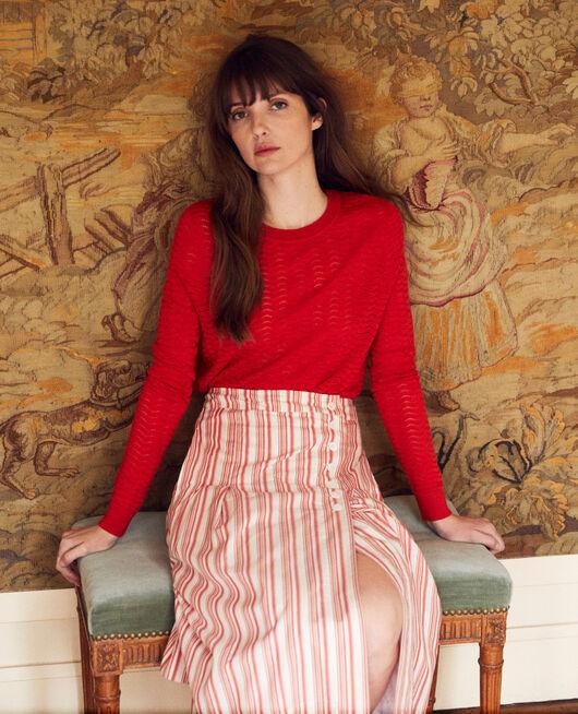 Novelty knit jumper 100% Merino Wool MOLTEN LAVA