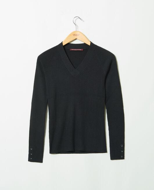 V-neck jumper 100% Merino Wool NOIR