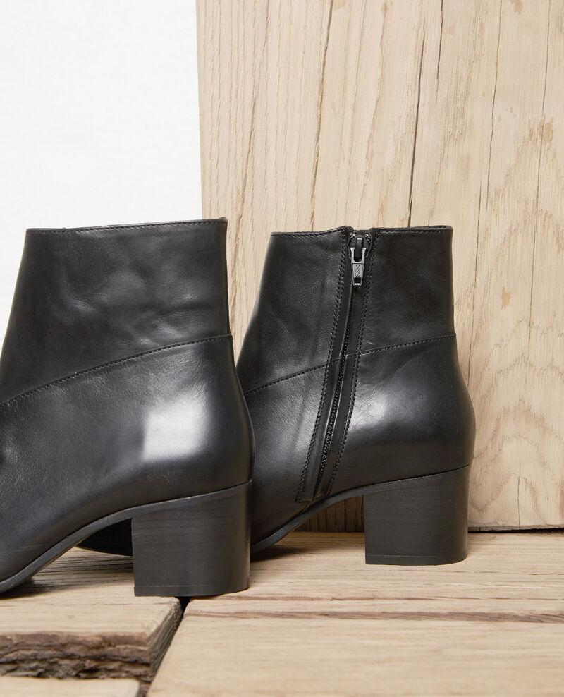 Black leather ankle boots Noir Jayzi