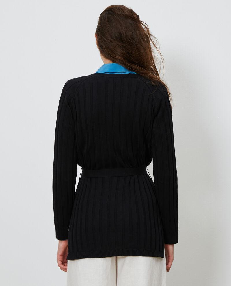 3D rib knit cardigan Black beauty Lunery