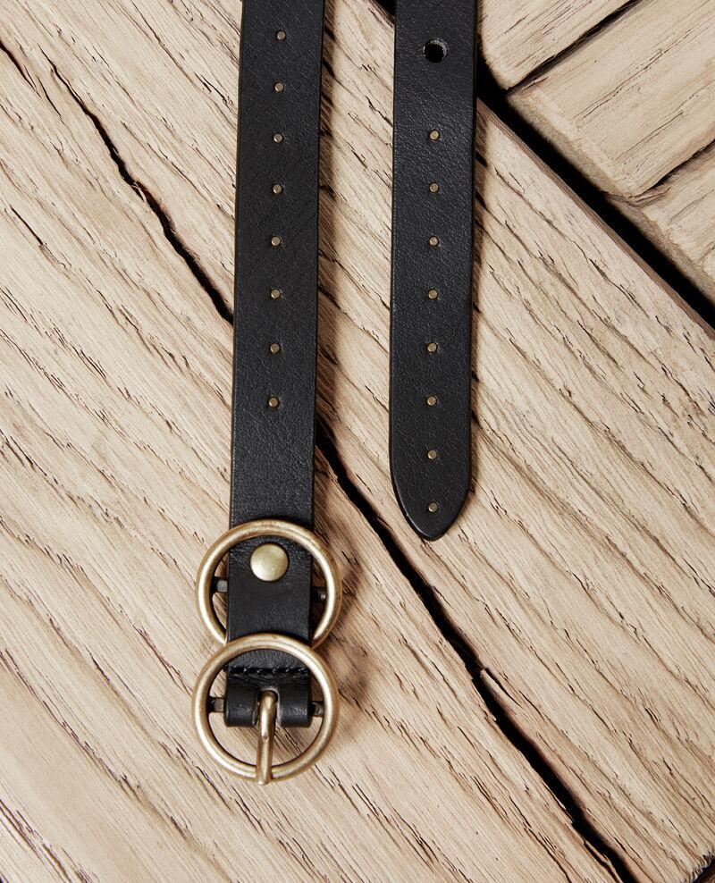 Leather belt Noir Jistud