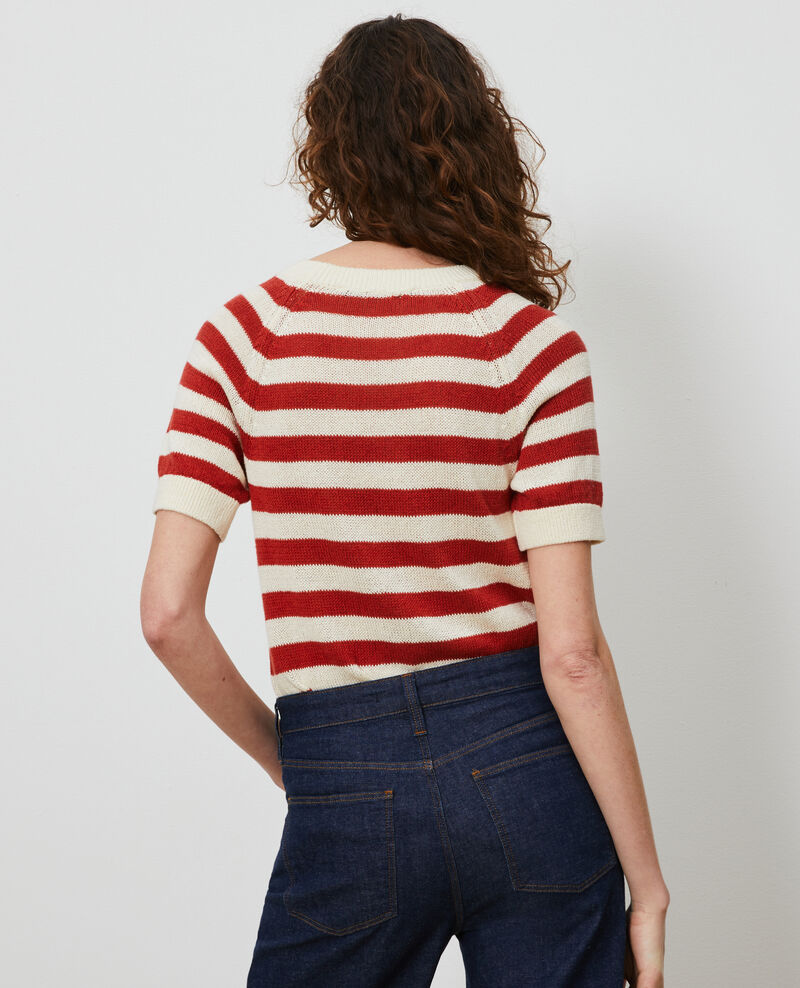 Striped linen and cotton jumper Str ketchup butter Licula