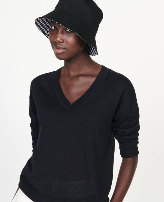 Linen and cotton V-neck jumper BLACK BEAUTY