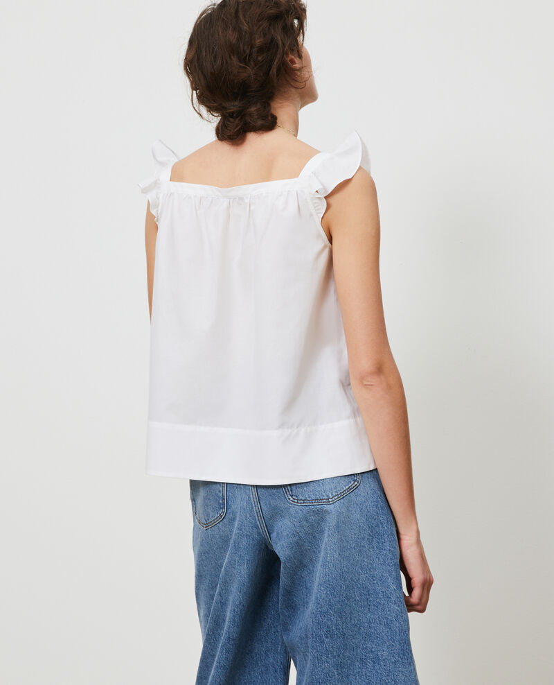 Cotton and silk strappy top Brilliant white Nymphie