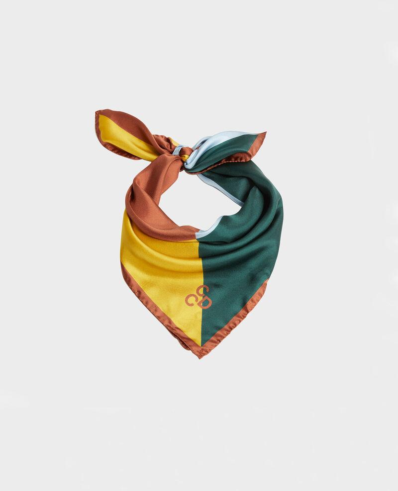 Square scarf in multi-coloured silk Lemon curry Massana