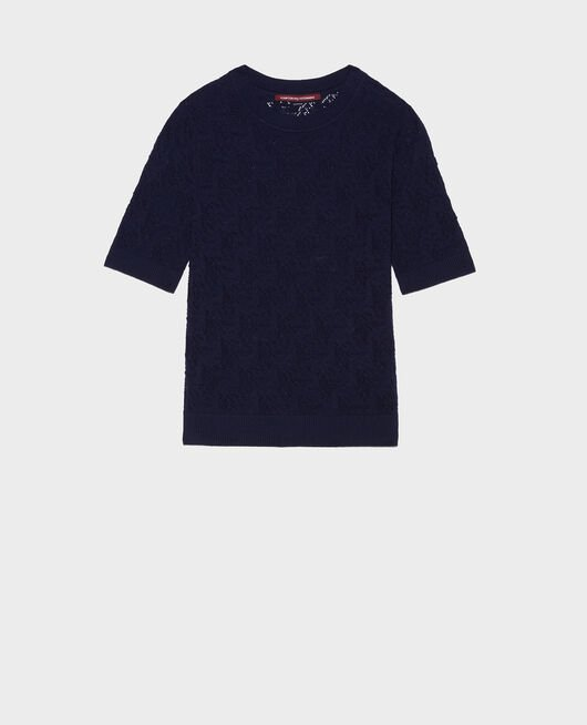 Rib knit t-shirt MARITIME BLUE