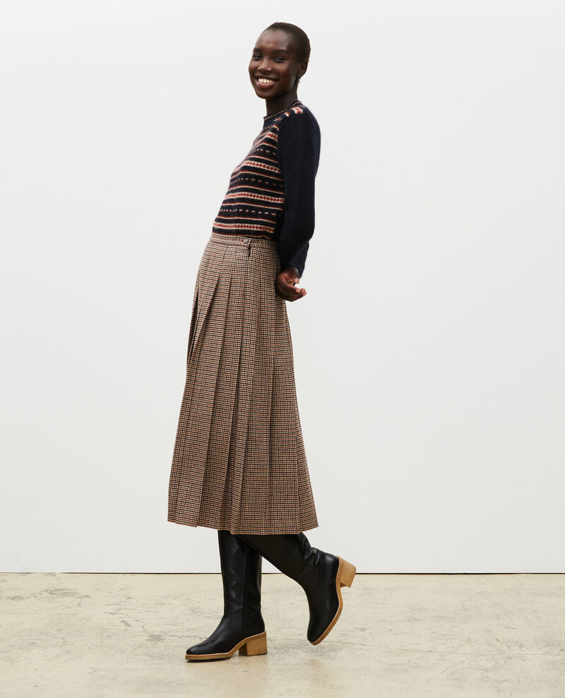 Pleated wool tweed skirt Check-wool-pattern-tailoring Mialos