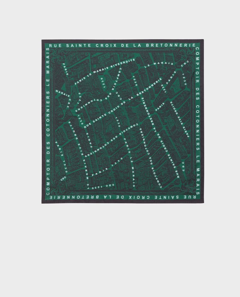 Square silk scarf Military green Mamap