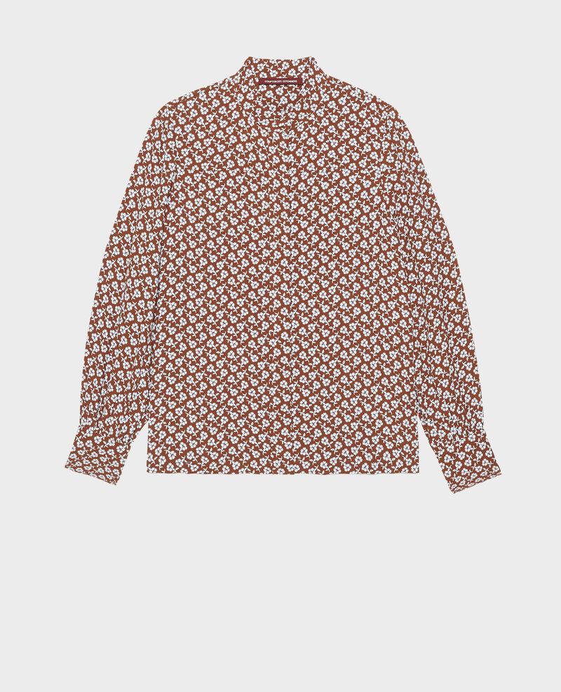 Long-sleeve floral print blouse Print fleurettes tortoise shell Manrant