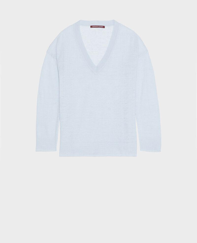 Linen and cotton V-neck jumper Heather Leonotis