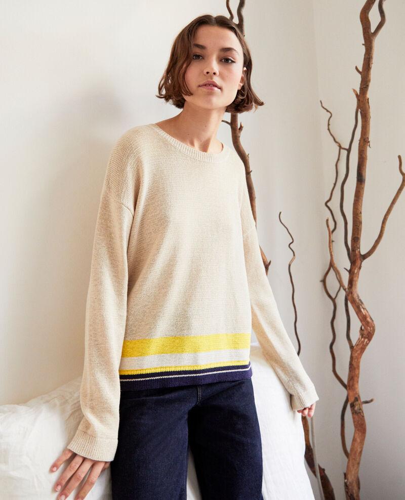 Linen blend round neck jumper Natural beige Iraye