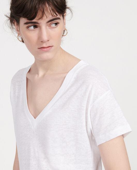 Linen jersey t-shirt OPTICAL WHITE