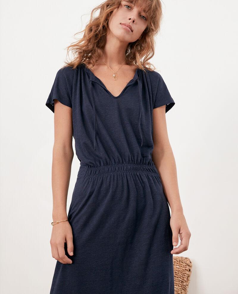 Linen dress Navy Flou