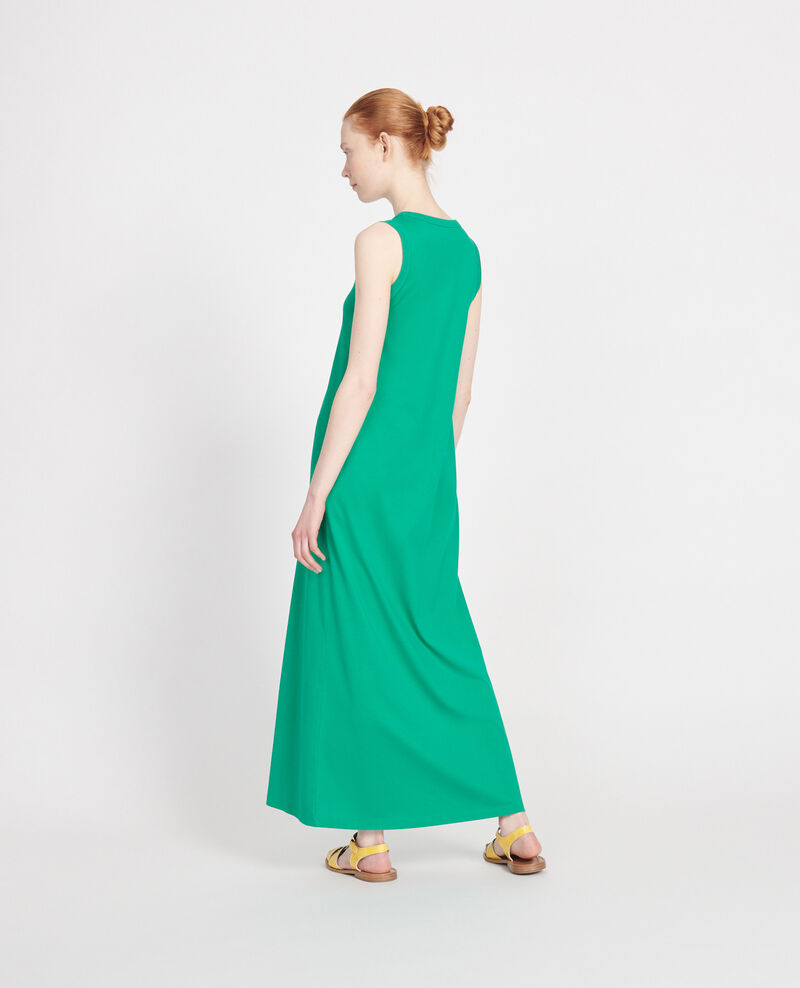 Mercerised cotton maxi dress Golf green Larosa