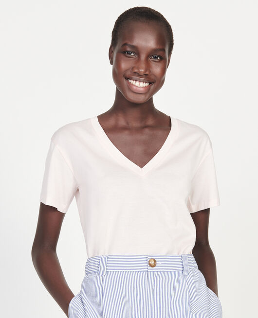 V-neck cotton t-shirt PRIMROSE PINK