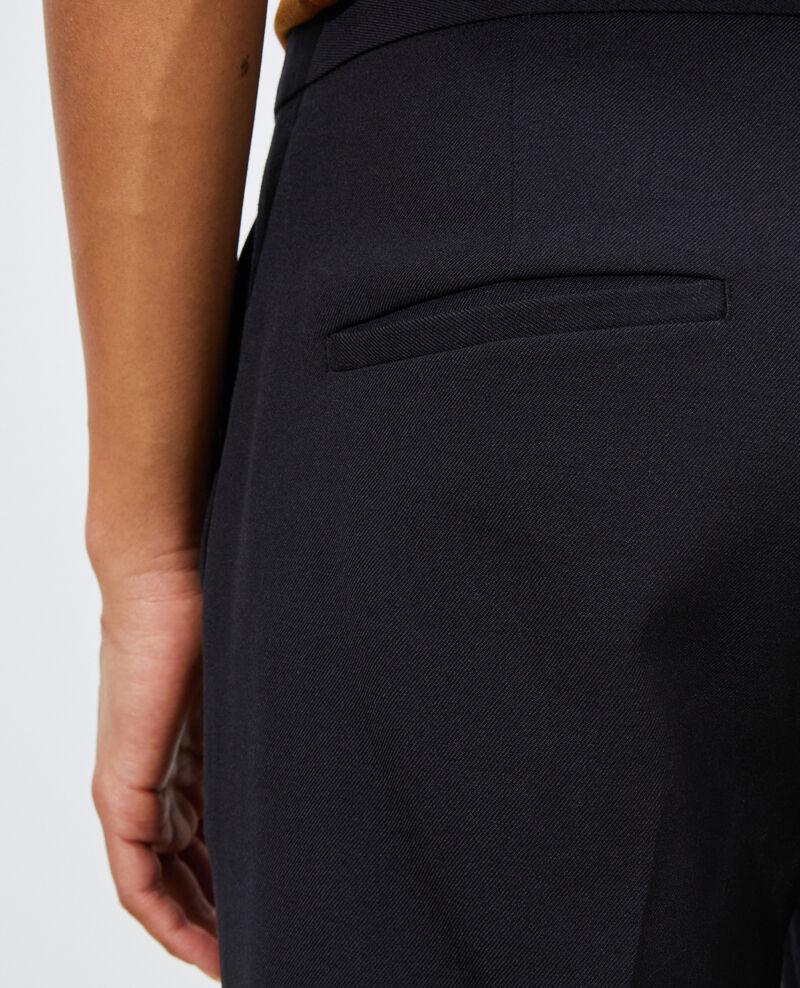 Wool 7/8 cigarette pants MARGUERITE Black beauty Moko