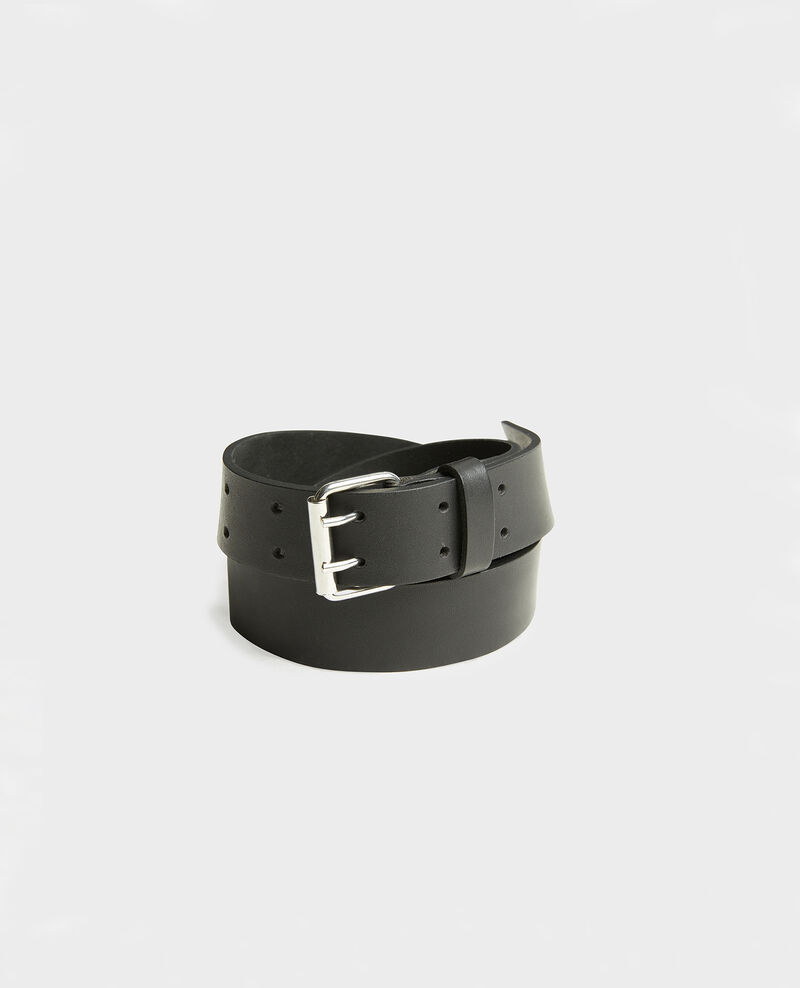 Leather belt with rectangular buckle Black beauty Megrit