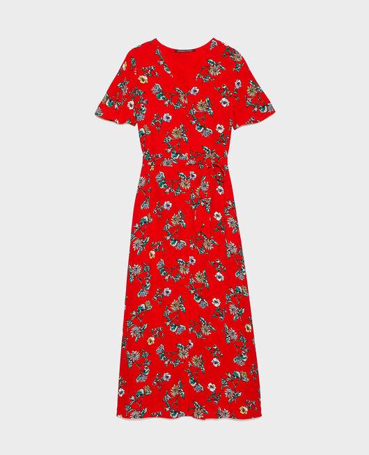 Viscose crêpe maxi dress HERBIER FIERY RED HAZE