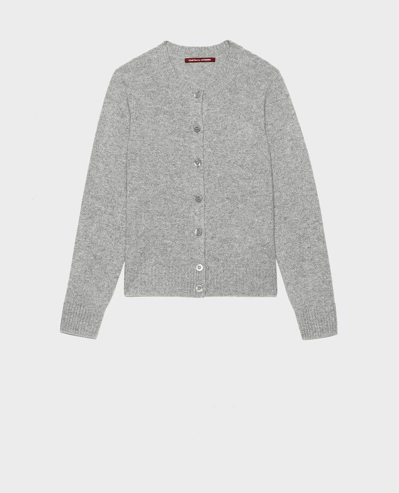 Round neck cashmere cardigan Light grey melange Marolle