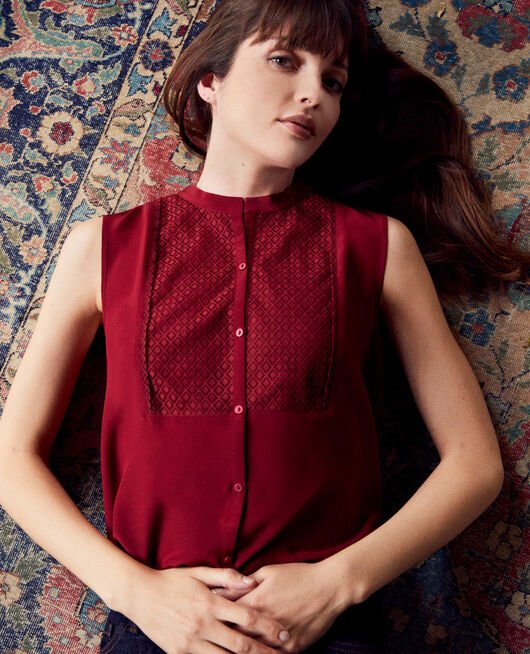 Silk blouse with lace shirt front CABERNET