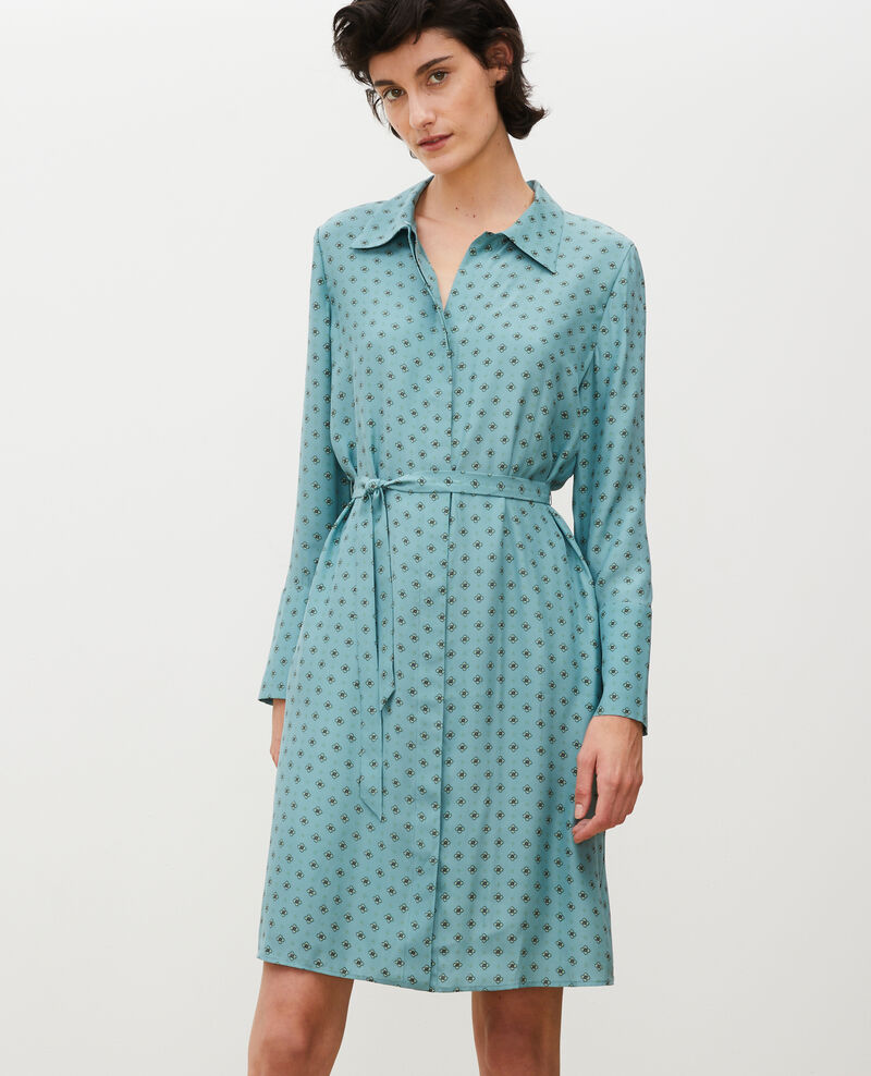 Silk shirt dress with belt Print mosaique treillis Maridansa