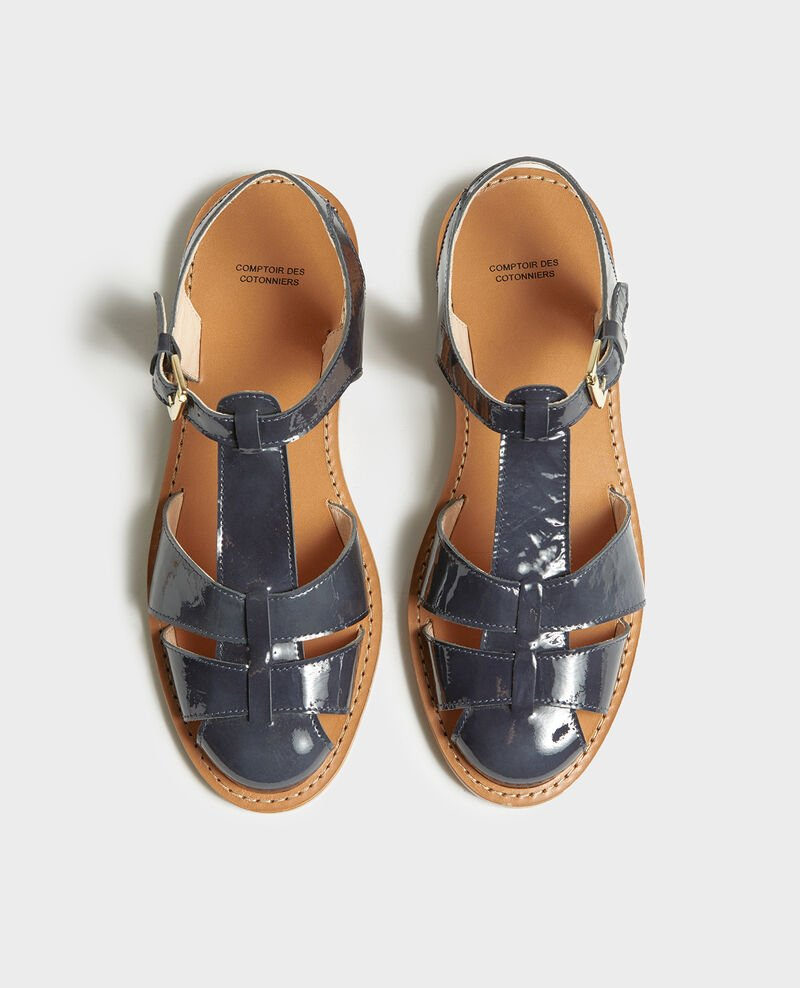Patent leather sandals Maritime blue Lapiaz