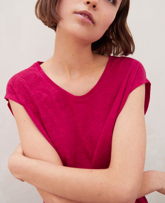 Embroidered linen T-shirt FUSHIA