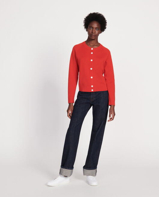 Classic wool cardigan FIERY RED