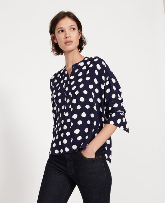 Straight-cut blouse DOTS MARITIME BLUE