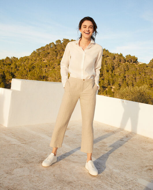 Carrot trousers NATURAL LINEN/OFF WHITE
