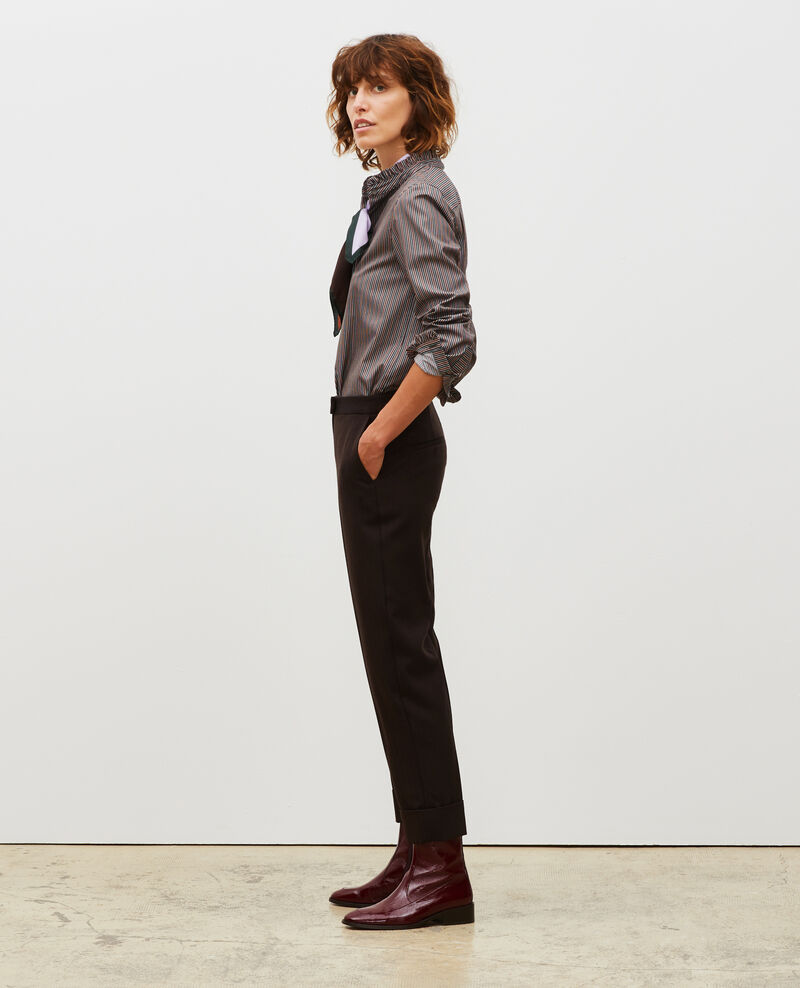 Tapered wool 7/8 trousers MARGUERITE Coffee bean Mokita