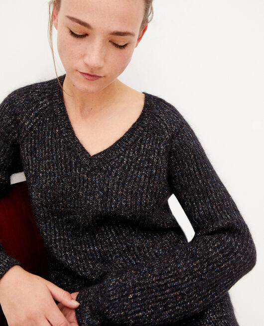 Jumper with mohair and lurex Black