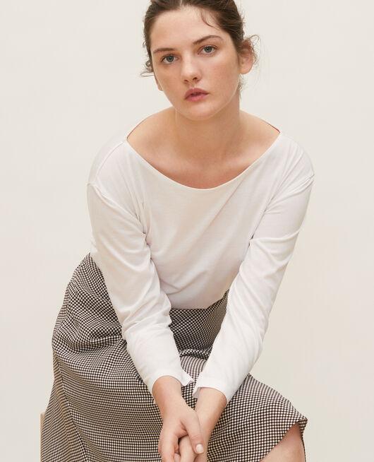 Boatneck long-sleeve cotton t-shirt OPTICAL WHITE