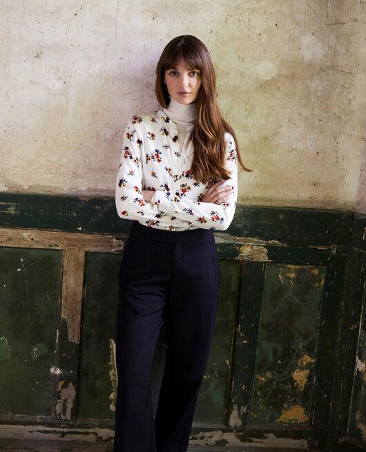 Mandarin collar blouse BOUQUET COCONUT MILK