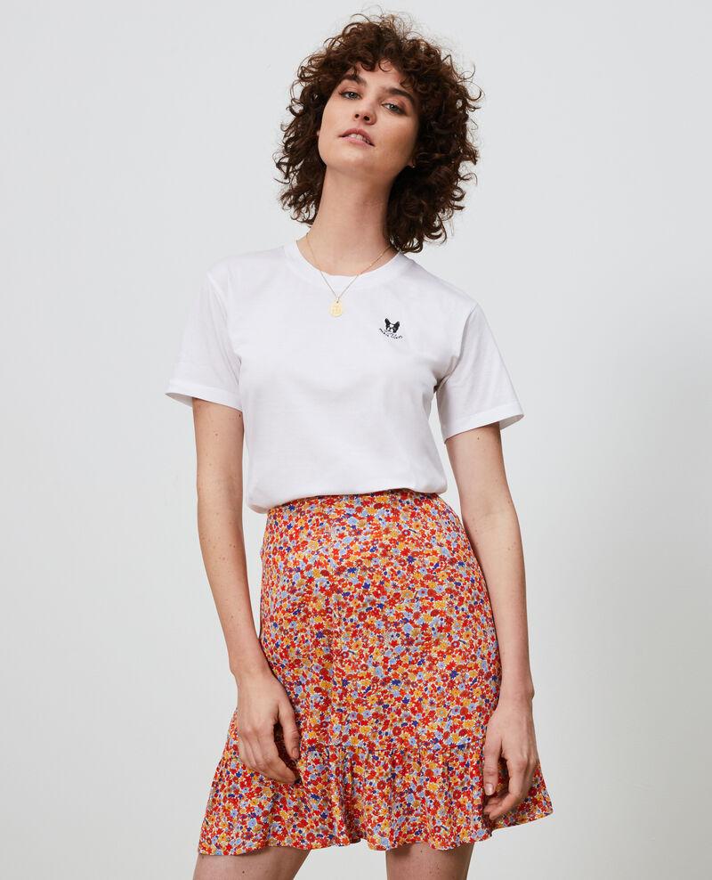 Embroidered cotton t-shirt Optical white Nagano