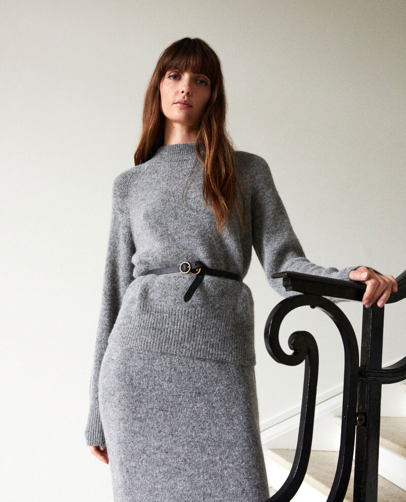 Midi-length knitted skirt Middle grey Joupila