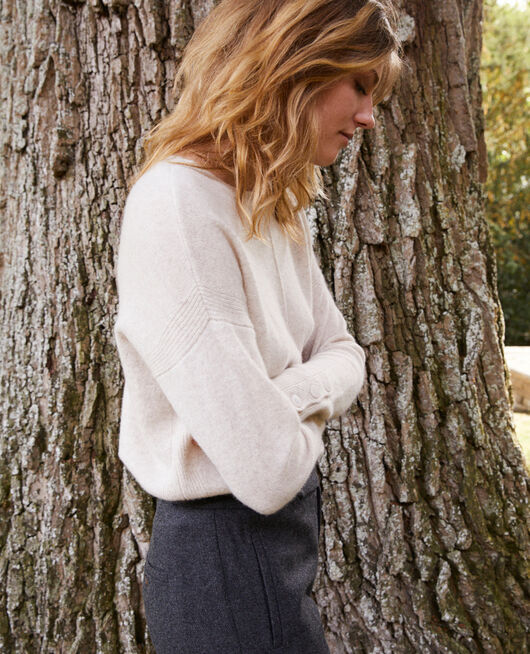 Jumper with buttons on the sleeves 100% cashmere BUTTERCREAM