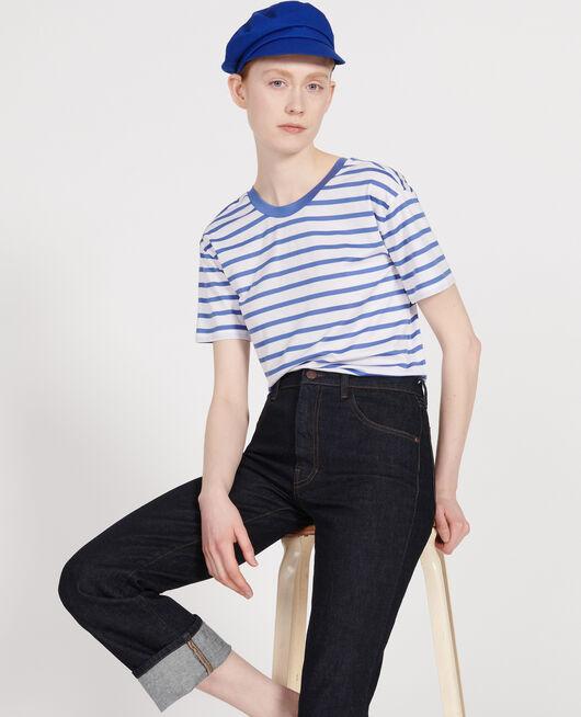 Egyptian cotton t-shirt STRIPES OPTICAL WHITE AMPARO BLUE