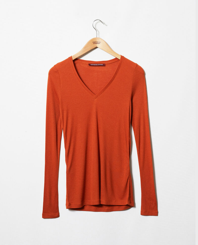 V-neck cashmere t-shirt Umber Jeeny