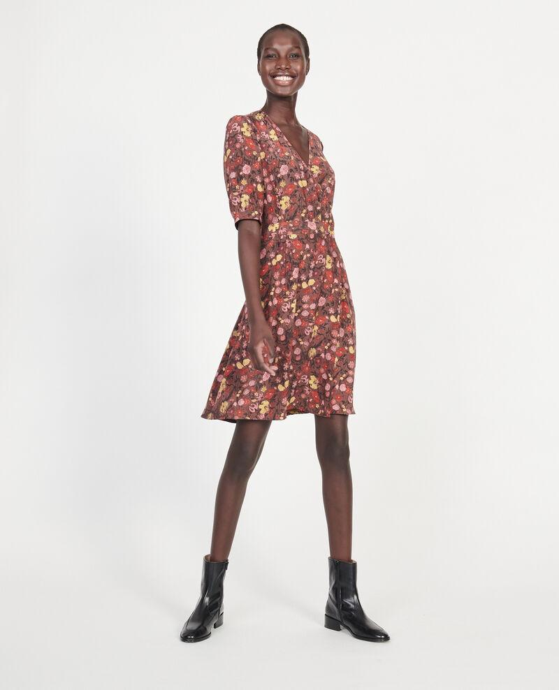 Floral silk wrap mini dress Print eden tortoiseshell Meanie
