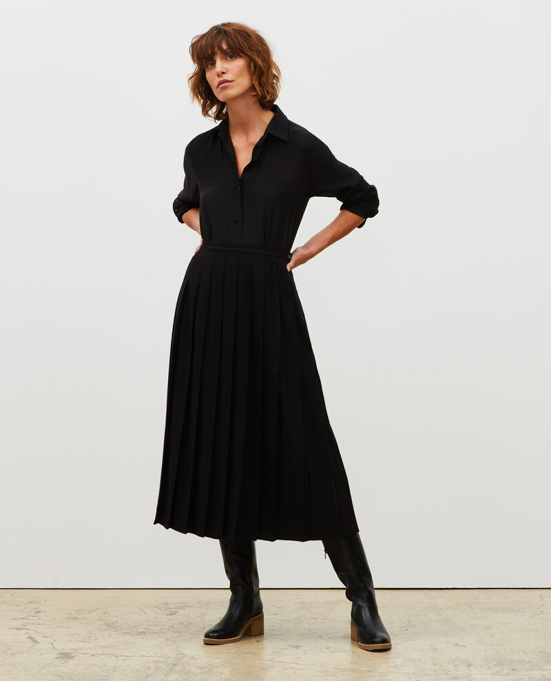 Pleated wool tweed skirt Black beauty Mialos