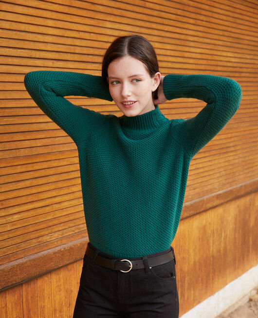 Wool jumper with braid detail EVERGREEN
